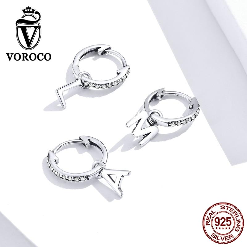 VOROCO BKE848-A, pendientes de aro exquisitos de Plata de Ley 925, joyería fina hipoalergénica, pendientes para mujer, regalo de Festival