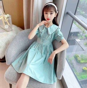 Cultiseed Girls Summer Vintage Cute Lace Turn Down Collar Slim Waist Princess Party Dress Children Kids New Holiday Casual Gowns