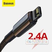USB кабель Baseus 2,4 А для iPhone 12 11 Pro Max XR Xs X, кабель для быстрой зарядки для iPhone 11, зарядное устройство USB для подсветки, кабель передачи данных