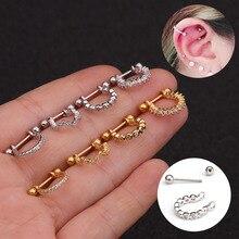 1PC New Stainless Steel Ear  Cartilage Stud Earrings for Women Zircon Helix Piercing Tragus Stud Conch Earring Puncture Jewelry