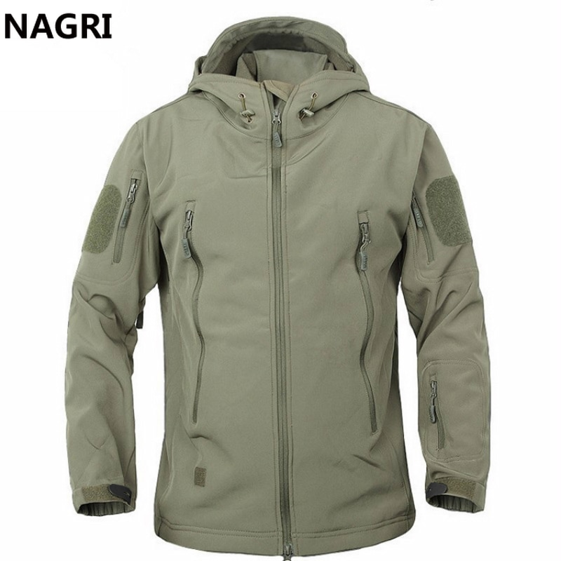 2019 TAD Winter Shark Skin Military Windproof Tactical Softshell Hooded Jacket Men Outwear Army Soft Shell Coat Windbreaker Rain