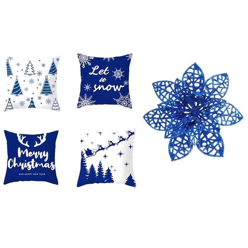 50x بريق شجرة عيد الميلاد الحلي الاصطناعية عيد الميلاد البونسيتة الزهور و 4 قطعة رسالة الكرتون عيد الميلاد المخدة