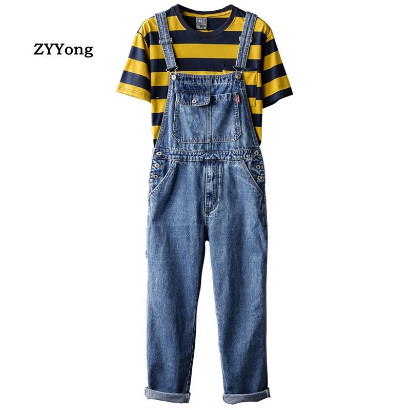 Man Jeans Bib Комбинезоны свободных прямые Плюс Размер Streetwear Hip Hop джинсовых Комбинезоны Брюки синего Досуг Широких ног штаны