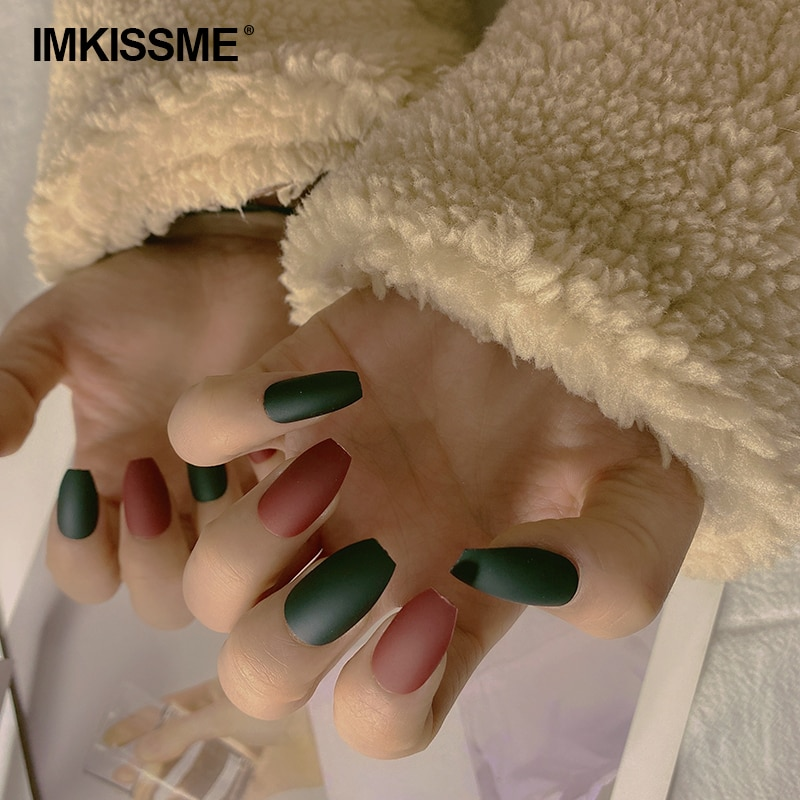 24 шт DIY накладные ногти искусство матовая накладные ногти гроб Пресс на акриле Стикеры комплект ювелирных изделий с коробкой