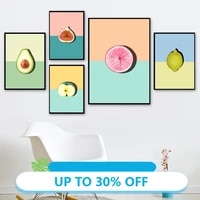 Affiches de peinture sur toile colorees  tableau dart mural  avocat  citron  pomme  mangoustan  pour decoration de maison