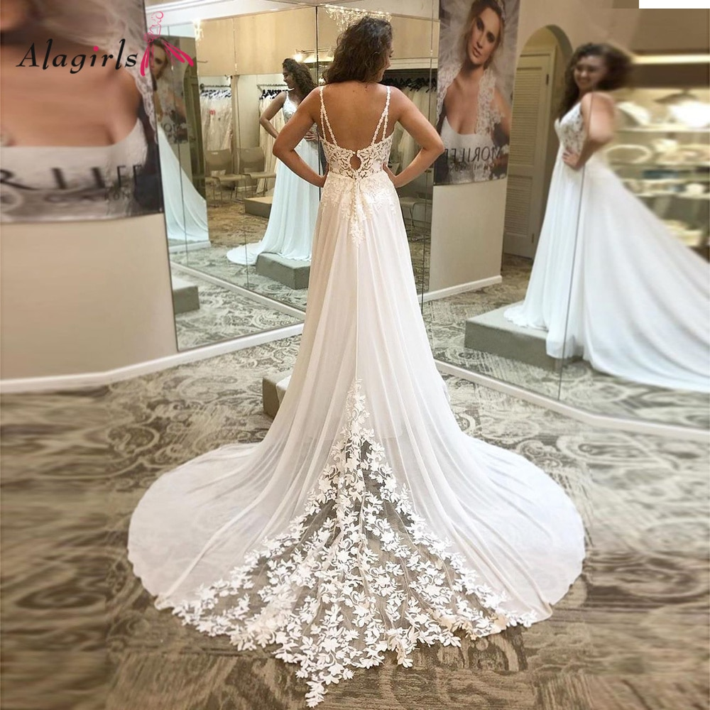 Review Alagirls Spaghetti Straps Wedding Dress Lace Ivory Celebrity Dresses Backless Bridal Gown V Neck Wedding Gown Size Custom Made