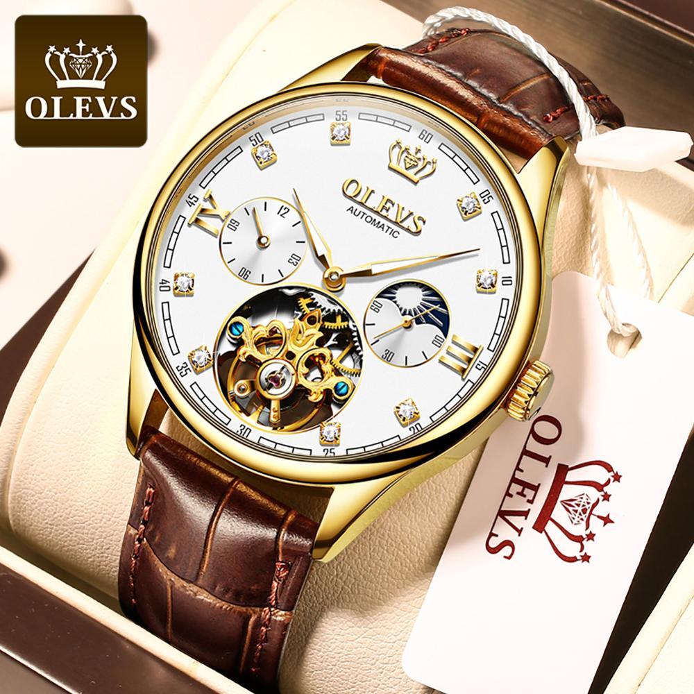 OLEVS ساعة رجالي الميكانيكية التلقائي مقاوم للماء توربيون الفاخرة 18k الذهب والجلود حزام خمر الذاتي لف ساعة رجالي