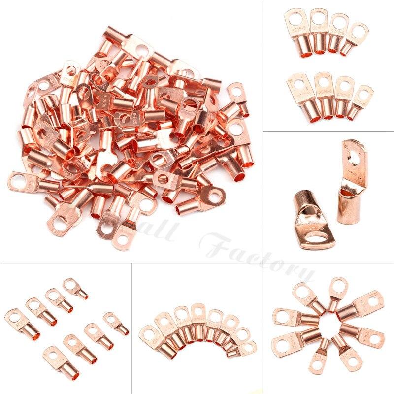 10 pces parafuso furo estanhado cobre talões anel terminais de bateria m6/m8 cabo desencapado elétrico friso fio conectores SC6-SC25 kit