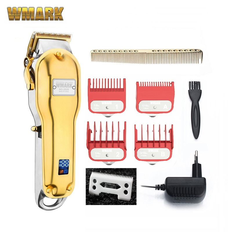 WMARK جميع المعادن NG-2019B NG-2020B اللاسلكي الشعر المقص مع LCD عرض 2500mAh اللاسلكي الشعر القاطع الذهبي اللون