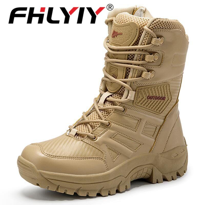 Fhlyiy/брендовые военные тактические мужские ботинки, спецназ, кожа, дезерты, армейские рабочие ботинки, мужская обувь размера плюс 39-47