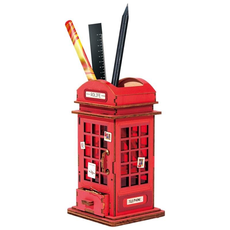 Creative DIY Penholder with Drawer Wooden Storage Box for Clip Desk Office School