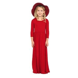 Long Sleeve Kids Girl Princess Beach Dresses Bohemian Maxi Kids Long Dresses for Girls Casual Beachwear Dress Baby Gril Clothes