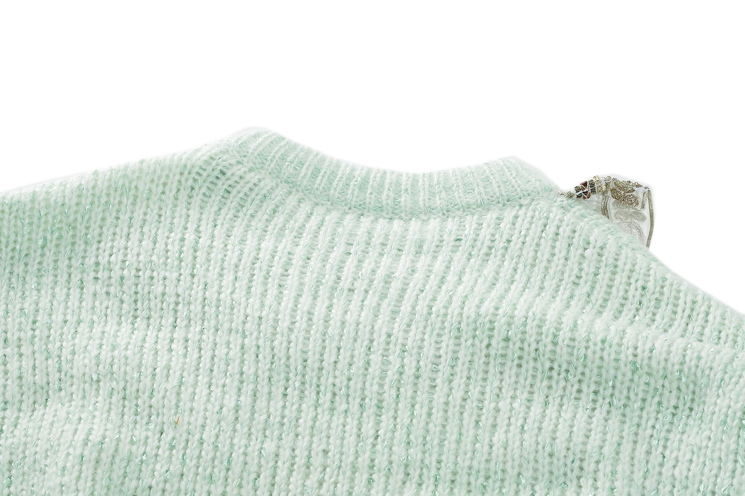 Winter  2021 Sweater Women Sweater Green solid Flowers Crew Neck Long Sleeve Fashion Pullover  S ML enlarge