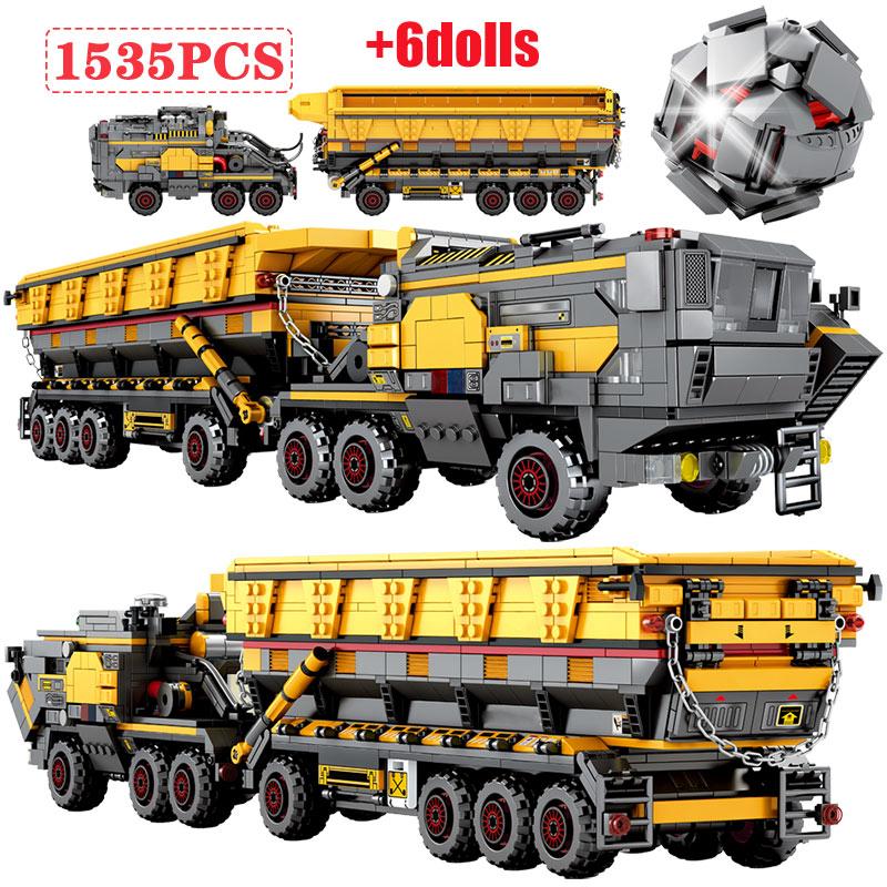 Modelo de tanque militar de ciudad, la técnica de bloques de construcción, figuras de camión de tierra errante, juguetes de ladrillos de transporte para niños