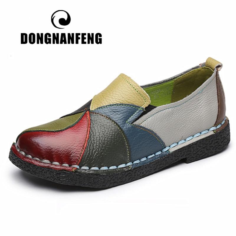 DONGNANFENG المرأة السيدات الإناث امرأة حذاء للأمهات الشقق حقيقية أحذية جلدية بدون كعب مختلط الملونة عدم الانزلاق على حجم كبير 35-42