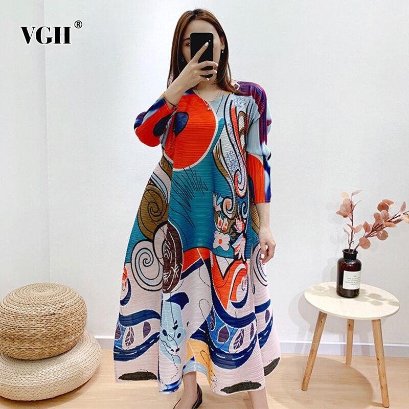 VGH Hit couleur impression robes femme O cou à manches longues ample Midi élégant décontracté femmes robe 2020 été mode nouveaux vêtements