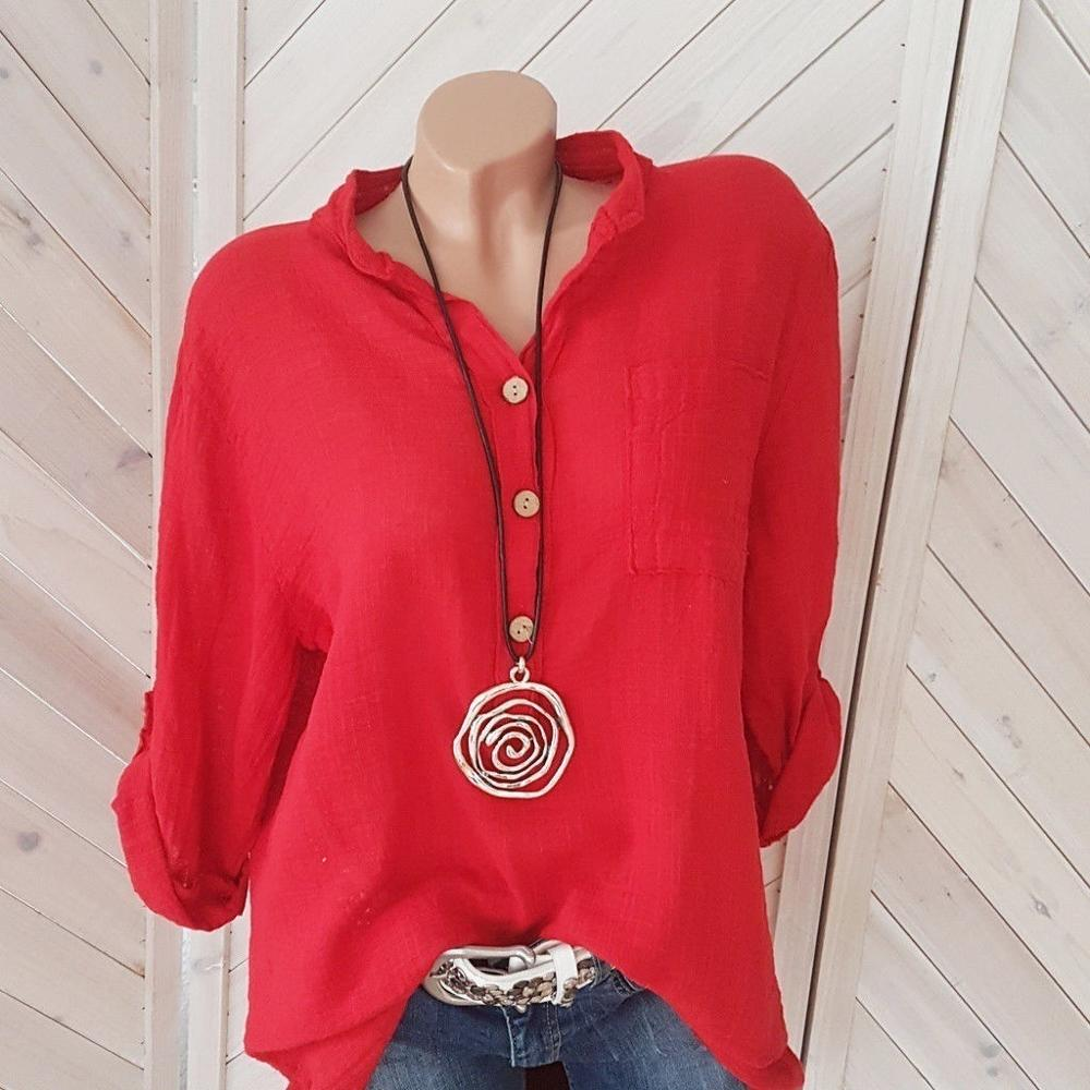 Large size loose cotton blouse 2020 summer new solid color casual long-sleeved V-neck ladies tops