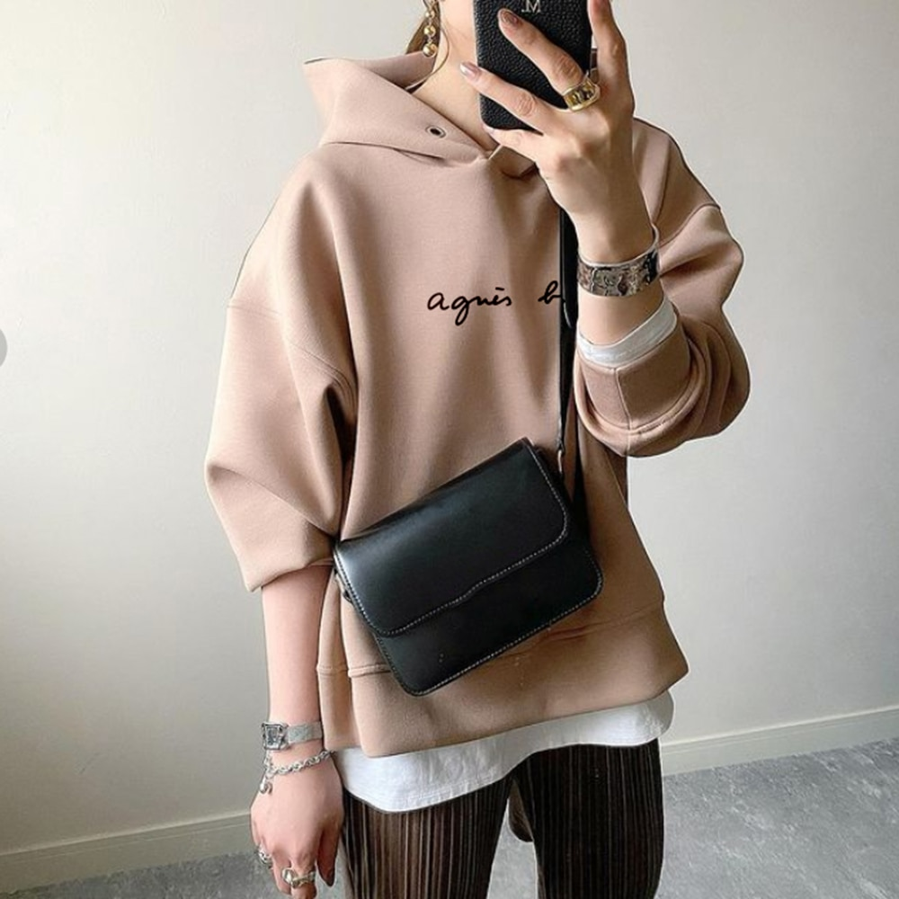 Frauen Sweatshirt Mit Kapuze Brief Drucken Lose Langarm Pullover Koreanische Mode Damen Hoodies Casual Top Толстовка Женская