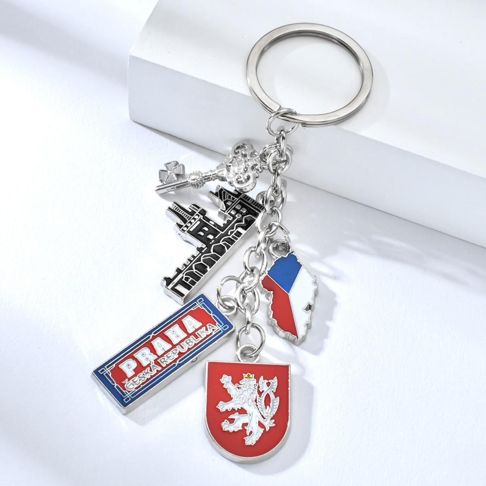 Vicney Czech Flag PRAHA With St. Vitus Cathedral Keychain Czech Travel Souvenir Key Chain High Quality Zinc Alloy Key Chain Ring