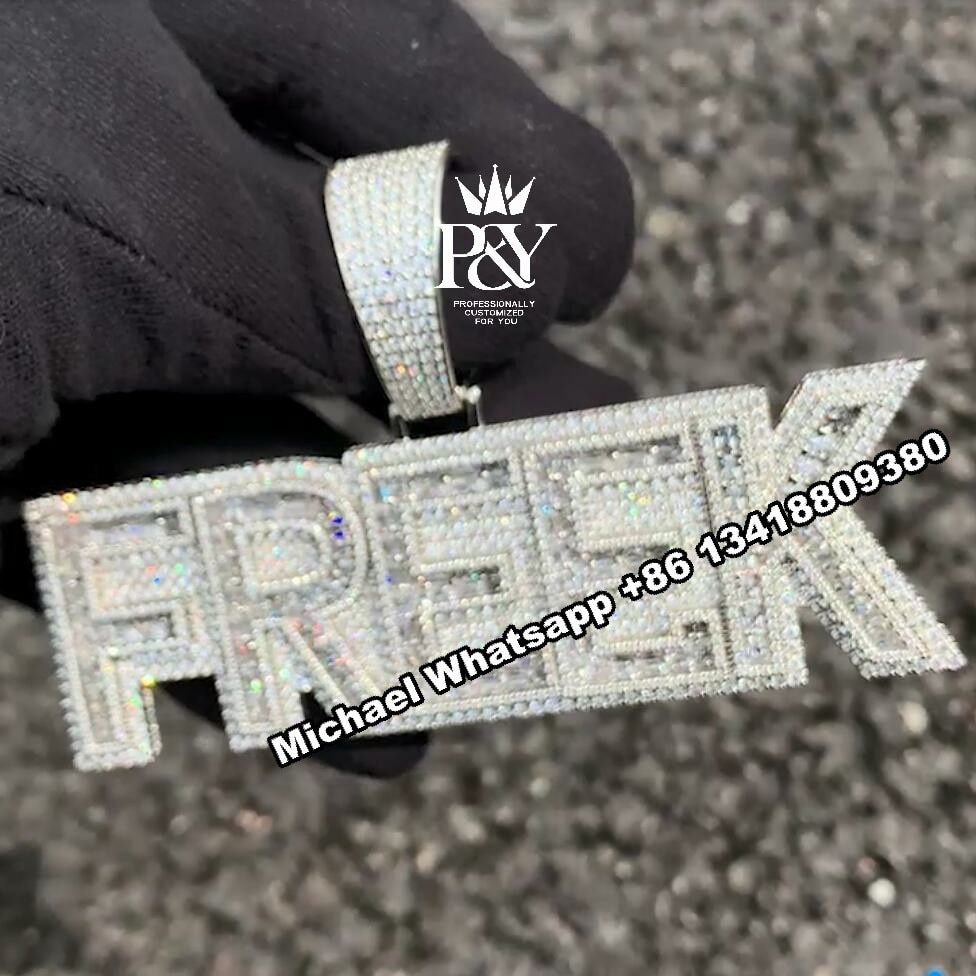 P&Y 2021 Customized Pass Diamonds Tester Full With VVS Moissanite Diamond HipHop Iced Out Letter Pendant Jewelry