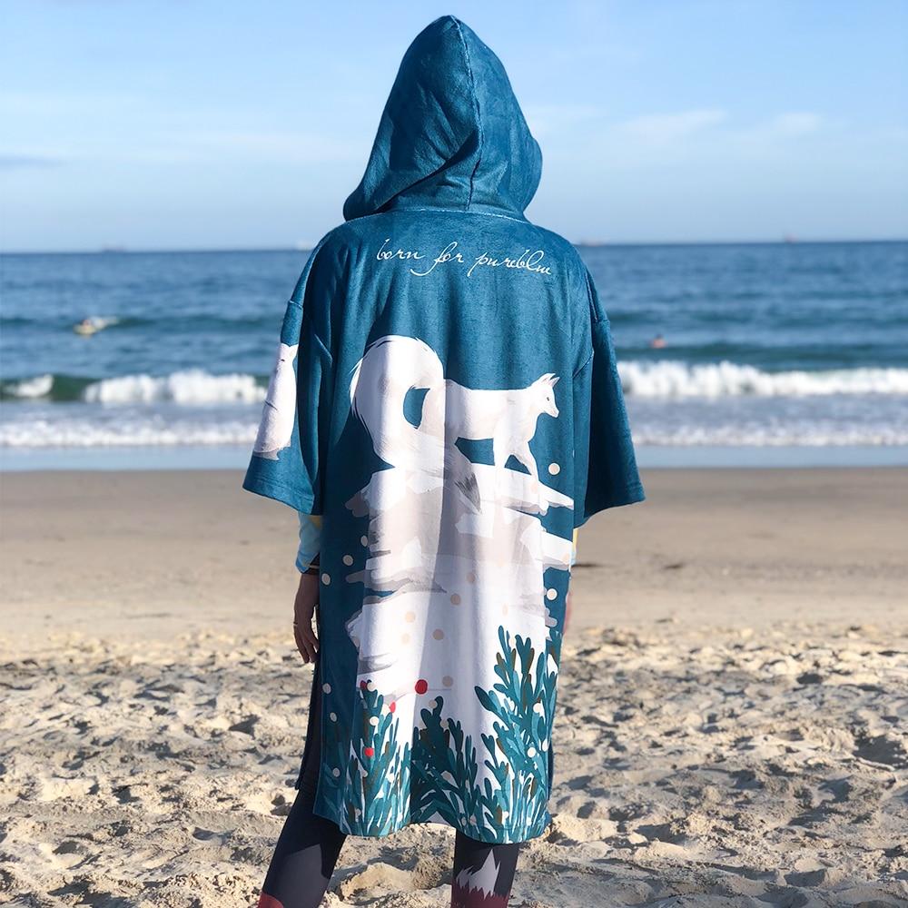 Nu-junho microfibra mulher homem natação mergulho roupão manto impressão mudando robe toalha de banho ao ar livre com capuz toalha de praia poncho