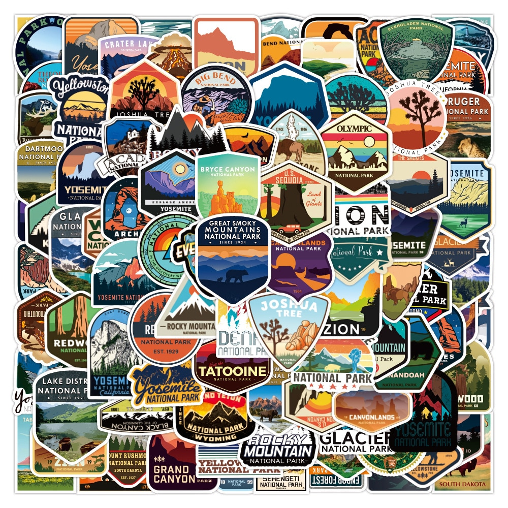 10/30/50/100PCS Mixed National Park Stickers DIY Motorcycle Travel Luggage Guitar Skateboard Cool Gr
