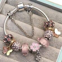 Милые Браслеты с подвесками и бабочками, роскошные розовые браслеты с кристаллами и бусинами для женщин, ювелирные изделия, Pulseira Feminina