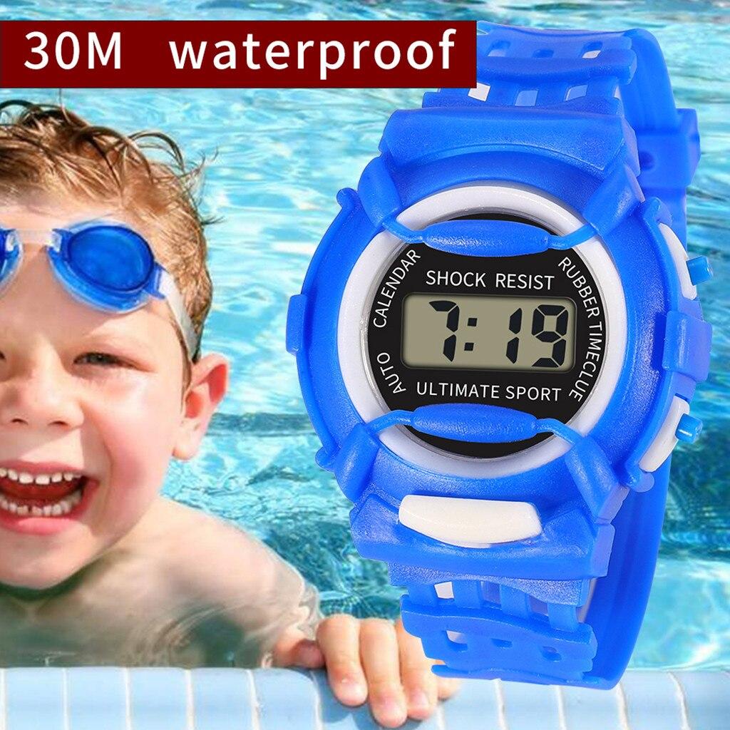 Niños Niñas analógico Digital deporte electrónica LED impermeable reloj de pulsera nueva детские часы FJSS