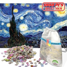 Papier Puzzle 1000 pièces en bois jouets puzzles pour adultes jouets éducatifs décoration autocollants Van Gogh peinture à lhuile ciel étoilé