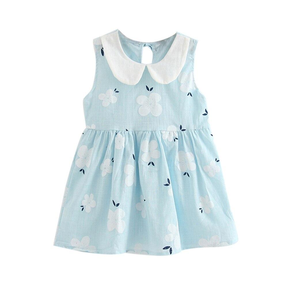 Moda verano niña vestido flor sin mangas Bowknot vestido fiesta Casual vestidos para niñas lindas niñas ropa # LR1