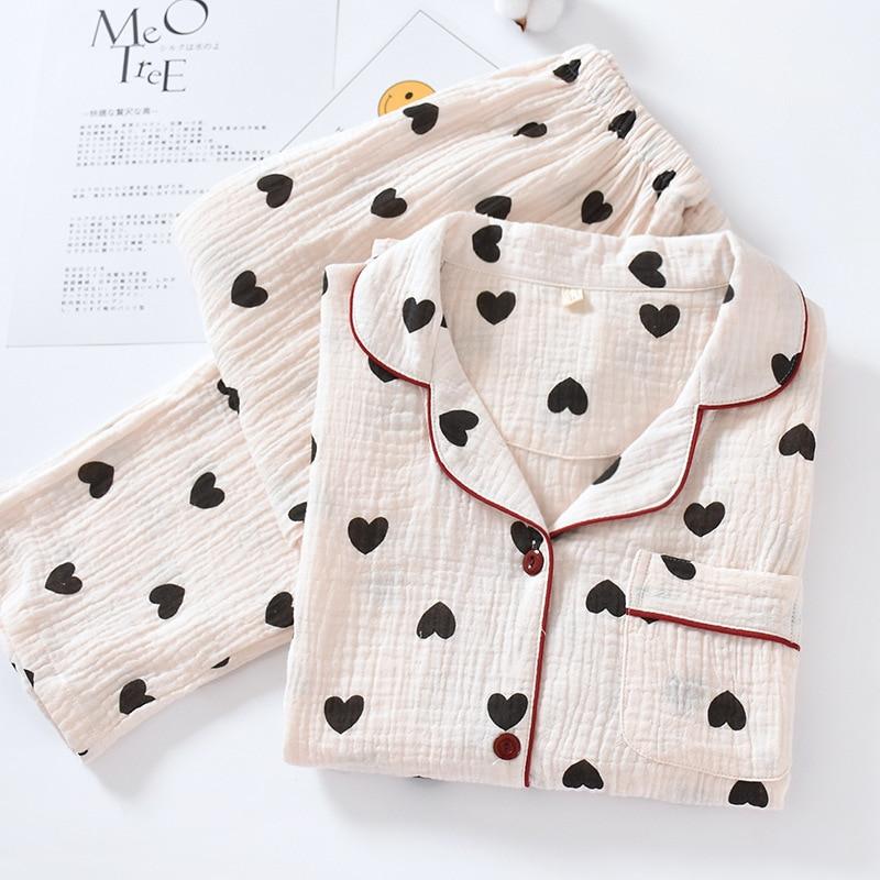 بيجاما جميلة مطبوعة على شكل قلب للنساء ، ملابس منزلية 100% قطن ، قميص بأكمام طويلة ، بنطلون ، ملابس نوم ، ملابس نوم فضفاضة ، بدلة منزلية ، مجموعة...