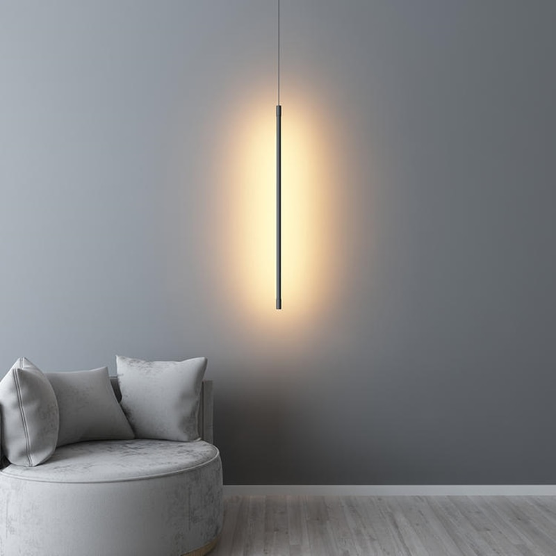 Minimalist Line Pendant Lamp Nordic LED Long Strip Chandelier Living Dining Room Bedroom Bedside Background Decor Hanging Lights