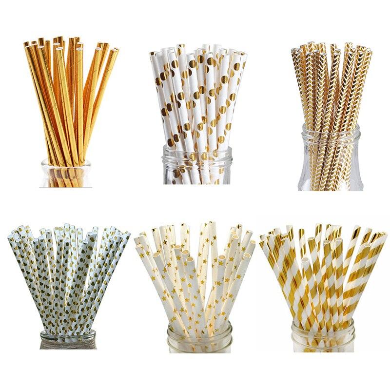 50pcs Metallic Gold heart star Foil Stripe Paper Straws Gold Foil Stripe Paper Straws Silver Foiled stripe