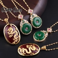 natural hetian necklaces ancien chinese style cz peace dragon totem pendants 24k gold jade jewelry green pendant for women jade