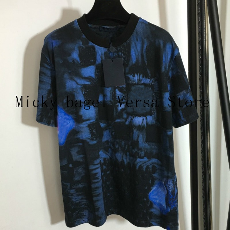 21 luxury design contrast color dye printing fashion women's top versatile round neck loose Casual Short Sleeve graphic T-shirt