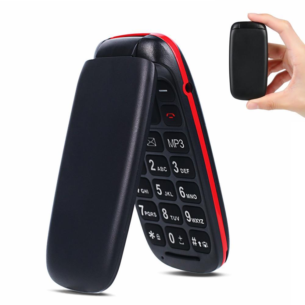 Unlocked Feature Mobile  Phone Senior Kids Mini Flip Phones Russian Keypad 2G GSM Push Button Key Cellphone