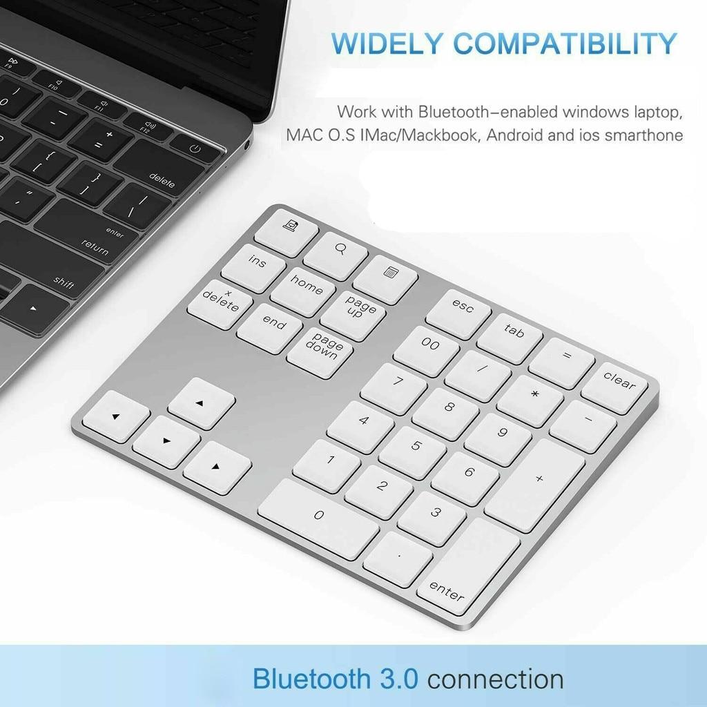 Sem fio bluetooth 34 teclas mini teclado para apple mac-livro numérico teclado número almofada portátil recarregável longo-tempo stand-by