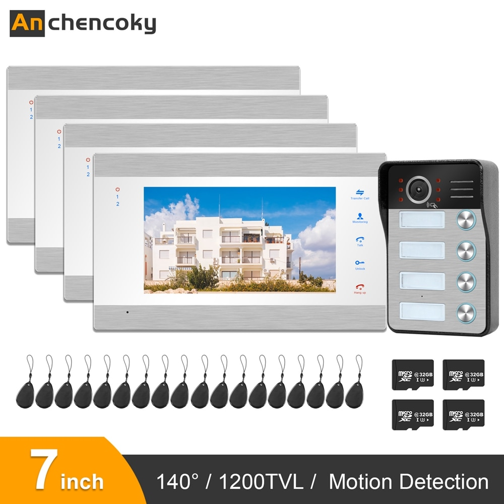 Anchencoky Home Intercom Video Door Phone 7 inch Monitor 1200TVL Wired Door Phone Camera Waterproof Doorbell Video Intercom Kit
