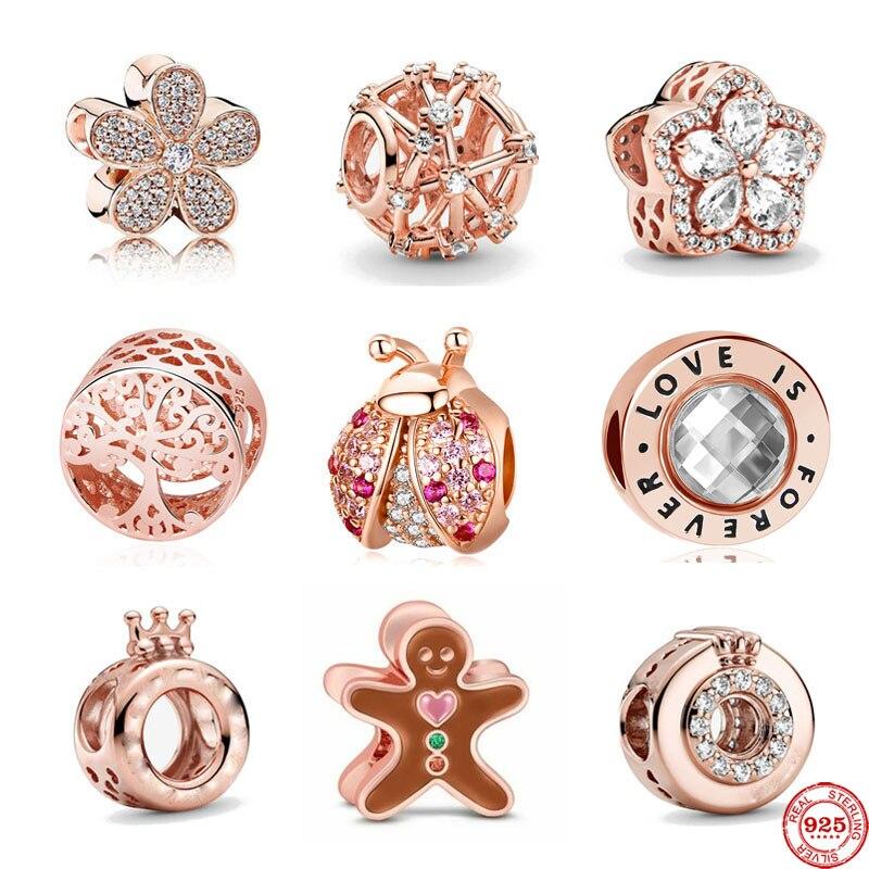 Neue freies verschiffen rose gold leben baum daisy marienkäfer Lebkuchen diy bead fit Original Pandora charms silber 925 armband frauen