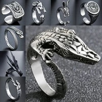 trendy adjustable vintage lizard ring opening men cute cabrito gecko chameleon anole rings for women animal jewellery gift punk