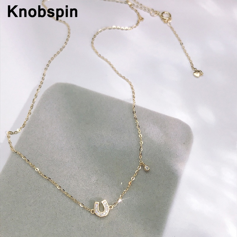 قلادة صغيرة من Knobspin star' ذات النمط الحقيقي 14k مصنوعة من قلادة صغيرة على شكل حرف U قلادة للخطوبة لحفلات الزفاف للنساء مجوهرات راقية