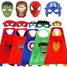 Kid Avengers Spiderman/Hulk/Iron Man/Captain America Cloak/Mask Cosplay Costume Boy Girl Halloween Superhero 3D Mask Party Gift