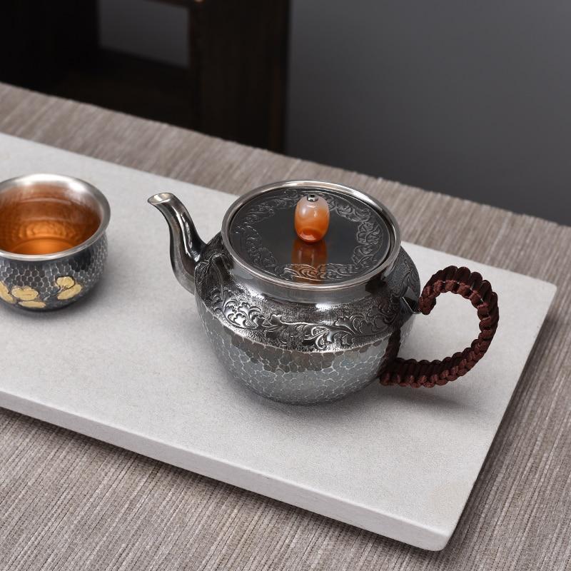 Jade elige estilo japonés antigua tetera de plata Ceremonia de té hogar tetera de plata de ley 999 tetera juego de té plateado
