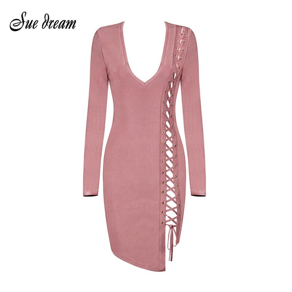 2020 Новая мода! Женское облегающее платье, черное, розовое, с длинным рукавом и треугольным вырезом