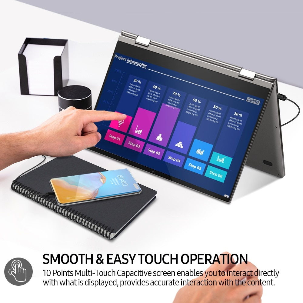 UDock for Huawei Easy Projection, UPERFECT X Portable Monitor 13.3 Inch Touch Screen Android 10 Lap Dock Dex Display USB C HDMI