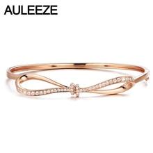 AULEEZE Nette Bowknot Design Solide 14K Rose Gold Echte Diamant Armreif Armband für Frauen Liebevolle Geschenk