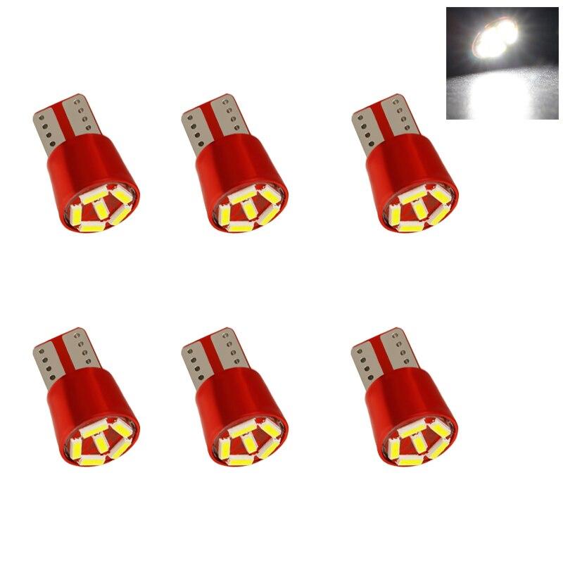 6 led t10 3014 luz 6smd w5w 194 168 canbus nenhum erro branco porta cunha instrumento lâmpada lateral dc 12 v
