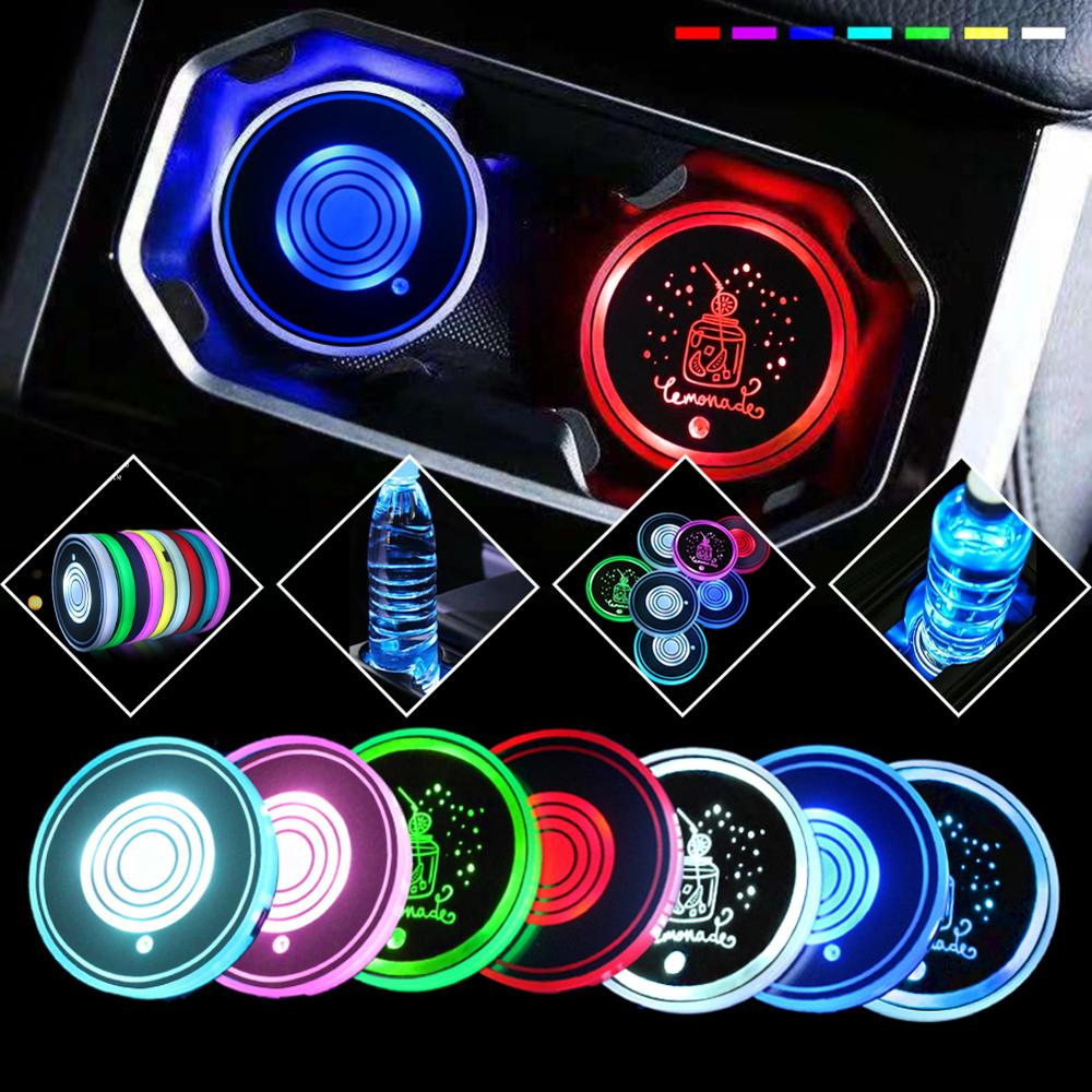 2Pcs USB charging Car Led Cup Holder Water Bottom Mat RGB Light Decor Cover Luminous Trim Lamp Pad Ornament Coaster Accessories