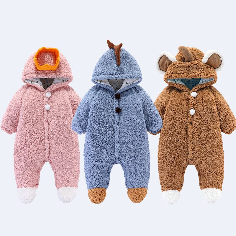 Cartoon Baby Winter Onesies, Thick Cotton Clothes For Baby Outing