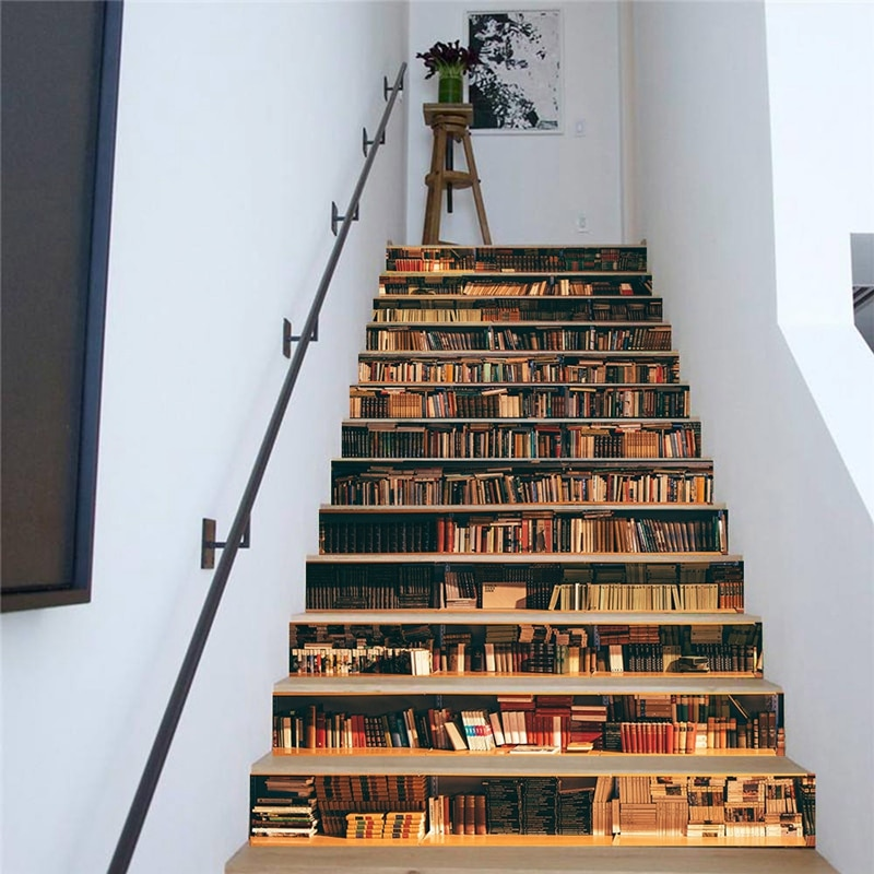 13Pcs 3D Bookcase Staircase Sticker Diy Sticker Wall Decal Wallpaper Wallpaper Detachable Decor Home Decor